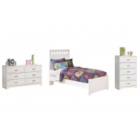 Lulu - Twin Panel Bed with Mirrored Dresser and Chest