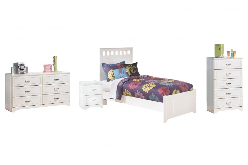 Lulu - Twin Panel Bed with Mirrored Dresser, Chest and Nightstand