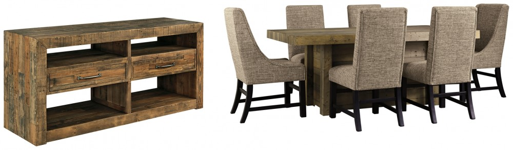 Sommerford - Dining Table and 6 Chairs with Storage