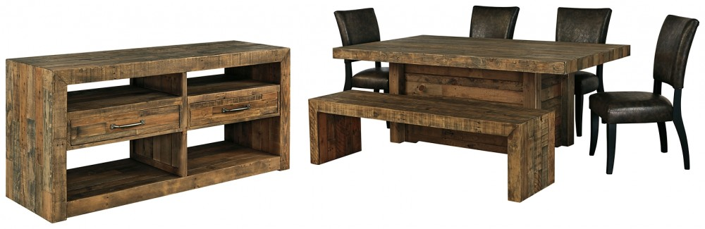Sommerford - Dining Table and 4 Chairs and Bench with Storage