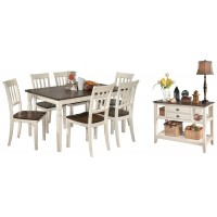 Whitesburg - Dining Table and 6 Chairs with Storage