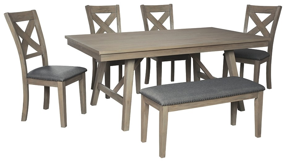 Aldwin - Dining Table and 4 Chairs and Bench