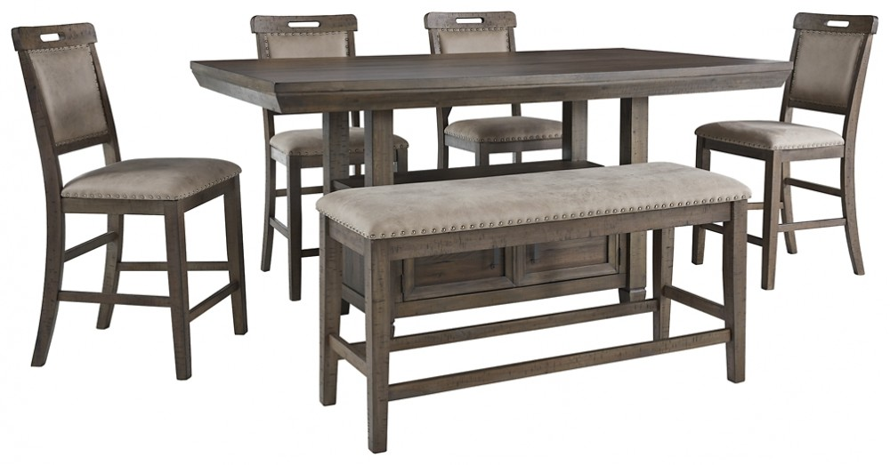 Johurst Counter Height Dining Table And 4 Barstools And Bench D762 32 09 124 4 Dining Room Groups Price Busters Furniture