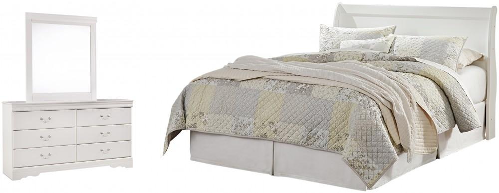 Anarasia - Queen Sleigh Headboard with Mirrored Dresser