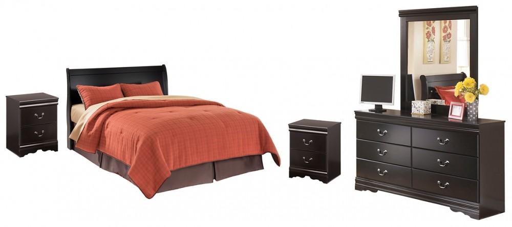 Huey Vineyard - King Sleigh Headboard with Mirrored Dresser and 2 Nightstands