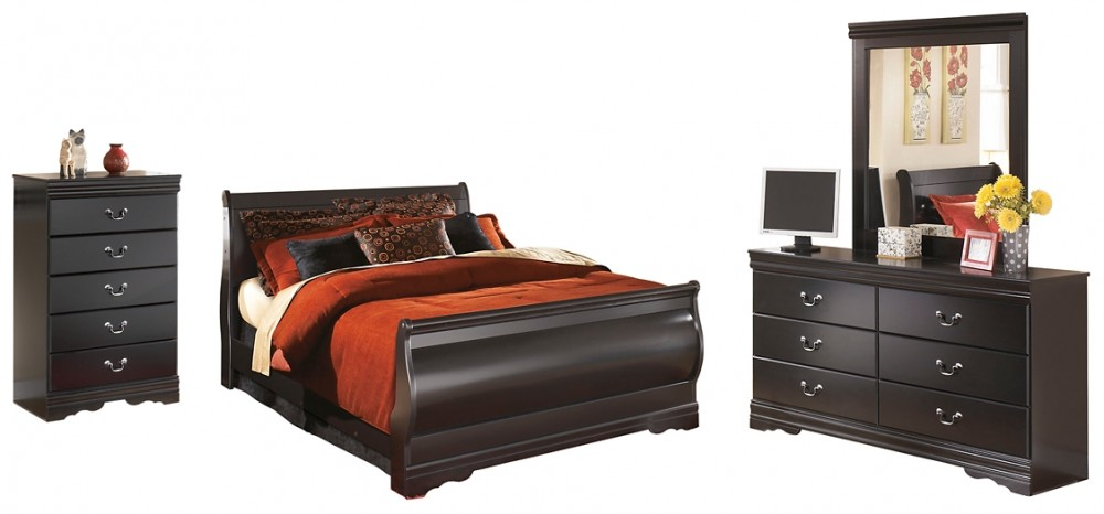 Huey Vineyard - King Sleigh Bed with Mirrored Dresser and Chest