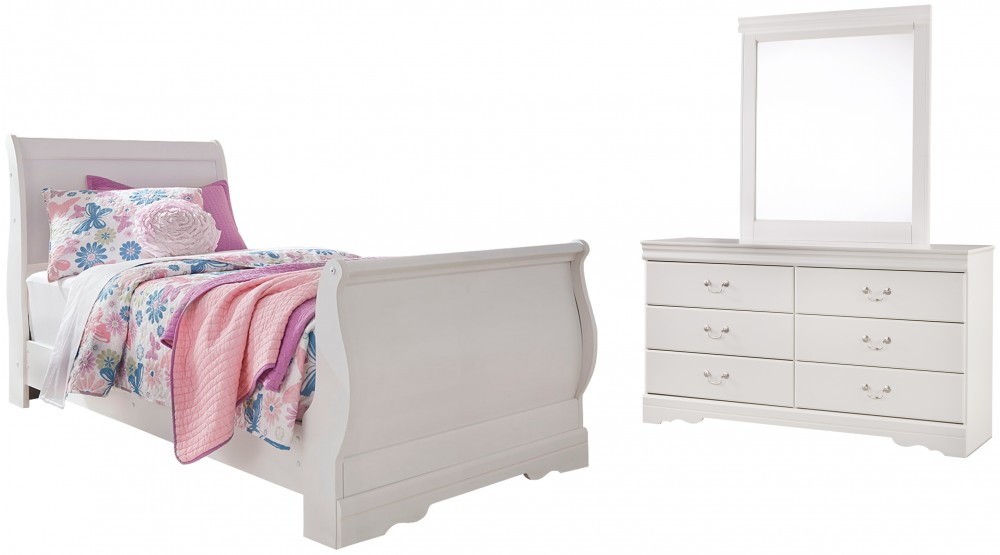 Anarasia - Twin Sleigh Bed with Mirrored Dresser