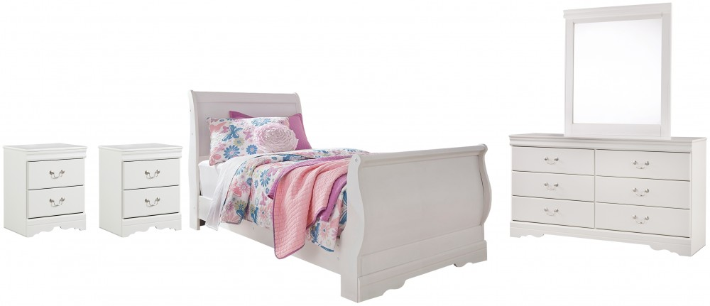 Anarasia - Twin Sleigh Bed with Mirrored Dresser and 2 Nightstands