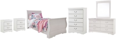 Anarasia - Twin Sleigh Bed with Mirrored Dresser, Chest and 2 Nightstands