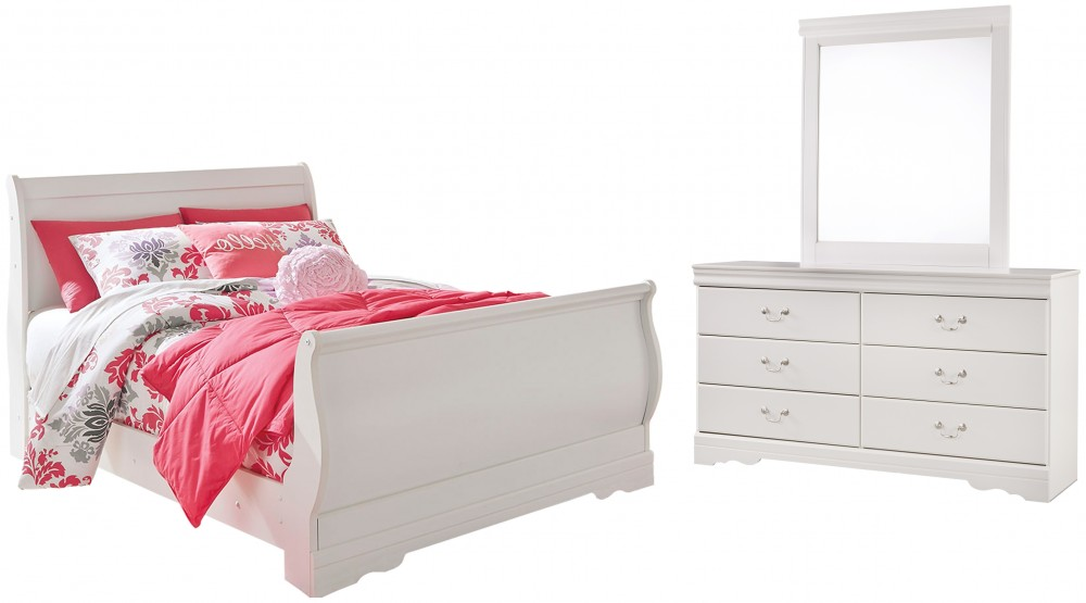 Anarasia - Full Sleigh Bed with Mirrored Dresser