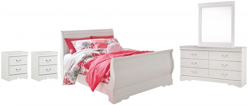 Anarasia - Full Sleigh Bed with Mirrored Dresser and 2 Nightstands