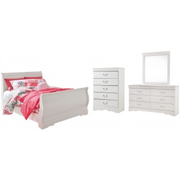 Anarasia - Full Sleigh Bed with Mirrored Dresser and Chest