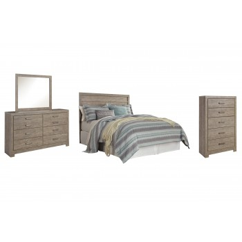Culverbach - Queen/Full Panel Headboard with Mirrored Dresser and Chest
