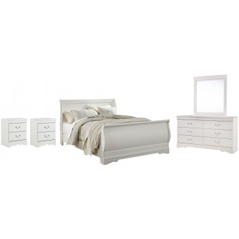 Anarasia - Queen Sleigh Bed with Mirrored Dresser and 2 Nightstands