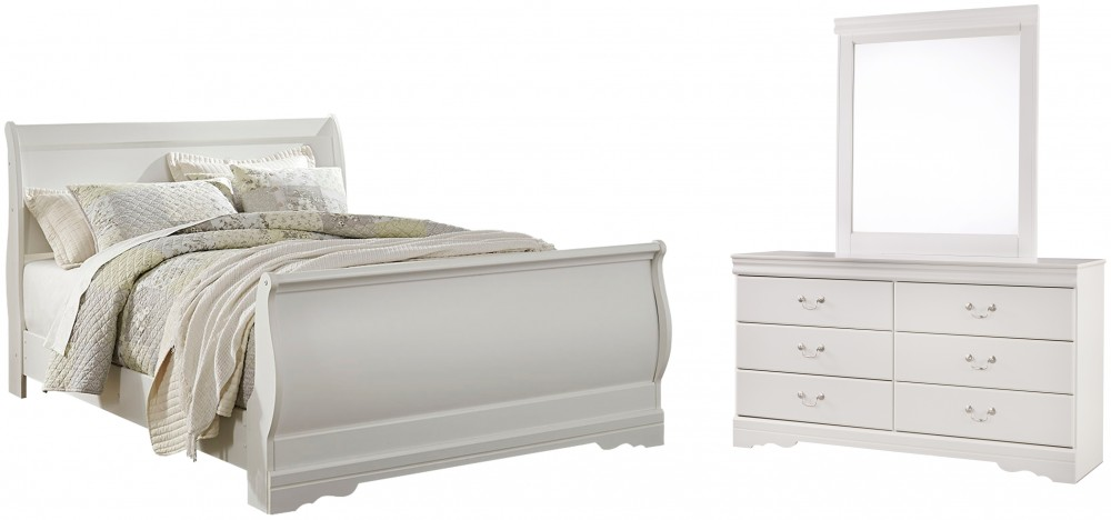 Anarasia - Queen Sleigh Bed with Mirrored Dresser