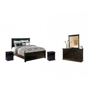 Maribel - King Panel Bed with Mirrored Dresser and 2 Nightstands