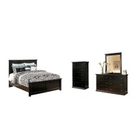 Maribel - King Panel Bed with Mirrored Dresser and Chest