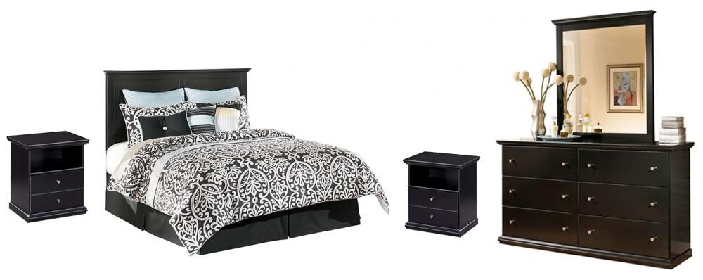 Maribel - King/California King Panel Headboard with Mirrored Dresser and 2 Nightstands