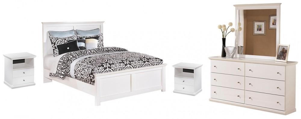Bostwick Shoals - Queen Panel Bed with Mirrored Dresser and 2 Nightstands