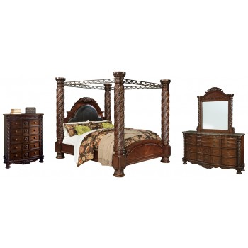 North Shore - King Poster Bed with Canopy with Mirrored Dresser and Chest
