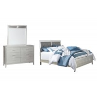Olivet - King Panel Bed with Mirrored Dresser