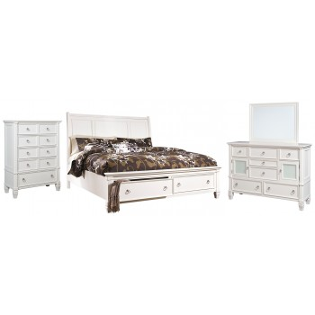 Prentice - King Sleigh Bed with 2 Storage Drawers with Mirrored Dresser and Chest