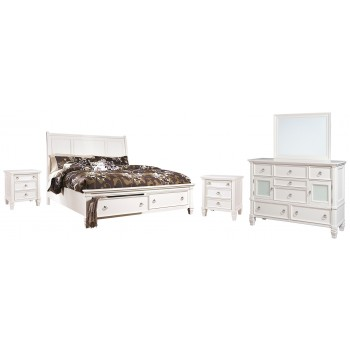 Prentice - King Sleigh Bed with 2 Storage Drawers with Mirrored Dresser and 2 Nightstands