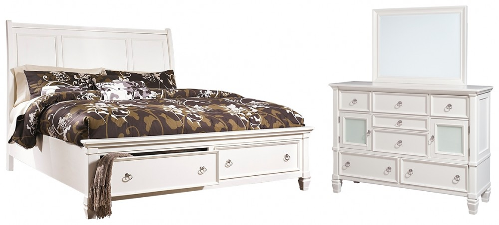 Prentice - Queen Sleigh Bed with 2 Storage Drawers with Mirrored Dresser