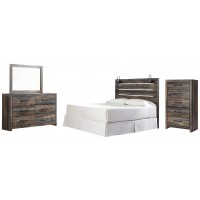 Drystan - King Panel Headboard with Mirrored Dresser and Chest