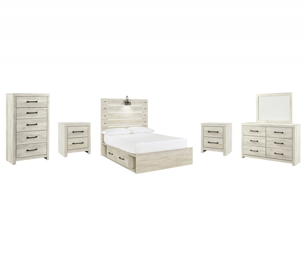 Cambeck - Full Panel Bed with 2 Storage Drawers with Mirrored Dresser, Chest and 2 Nightstands