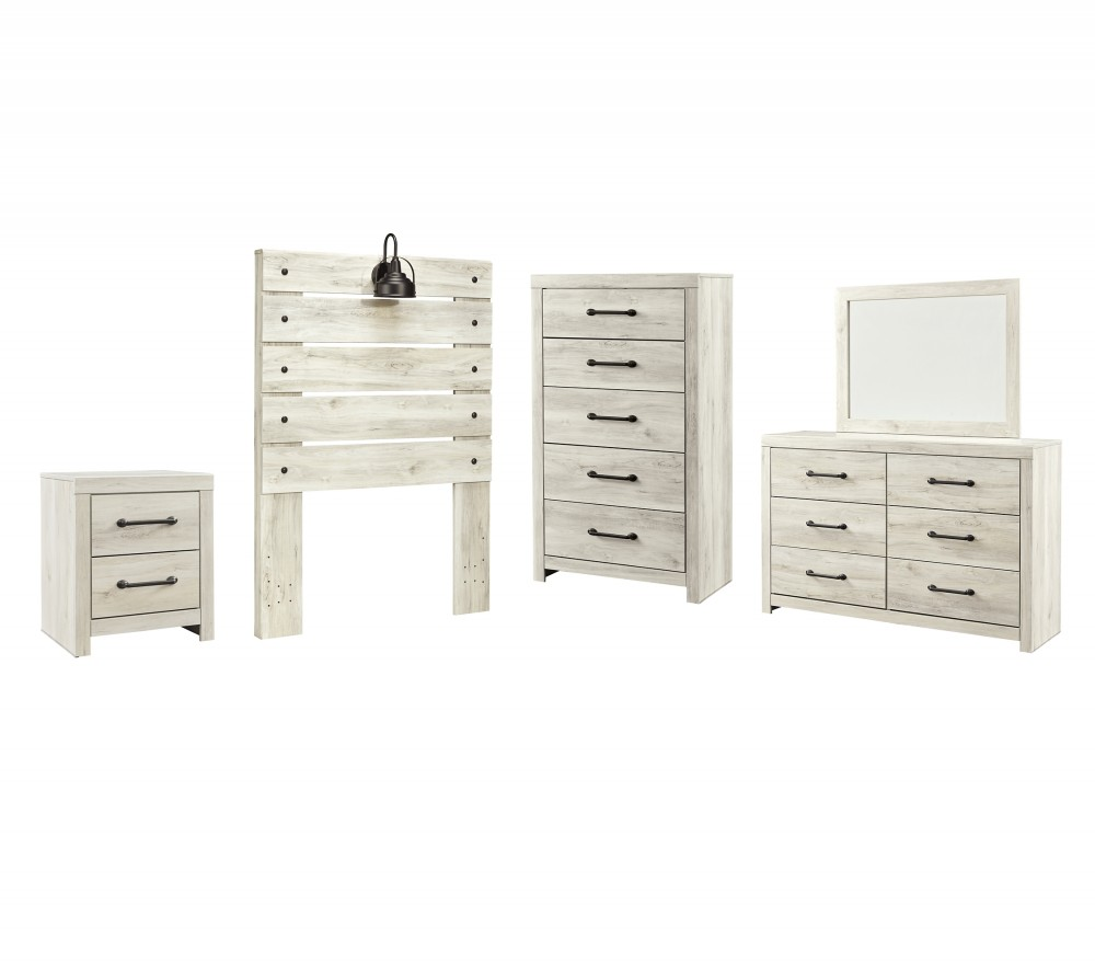 Cambeck - Twin Panel Headboard Bed with Mirrored Dresser, Chest and Nightstand