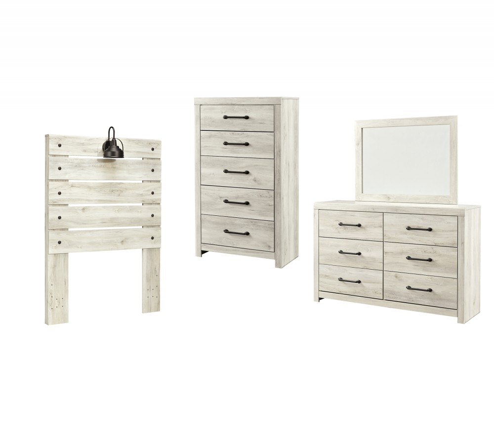 Cambeck - Twin Panel Headboard with Mirrored Dresser and Chest