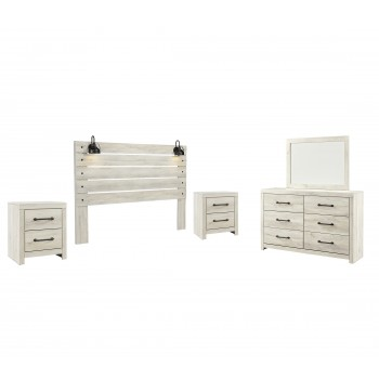Cambeck - King Panel Headboard with Mirrored Dresser and 2 Nightstands