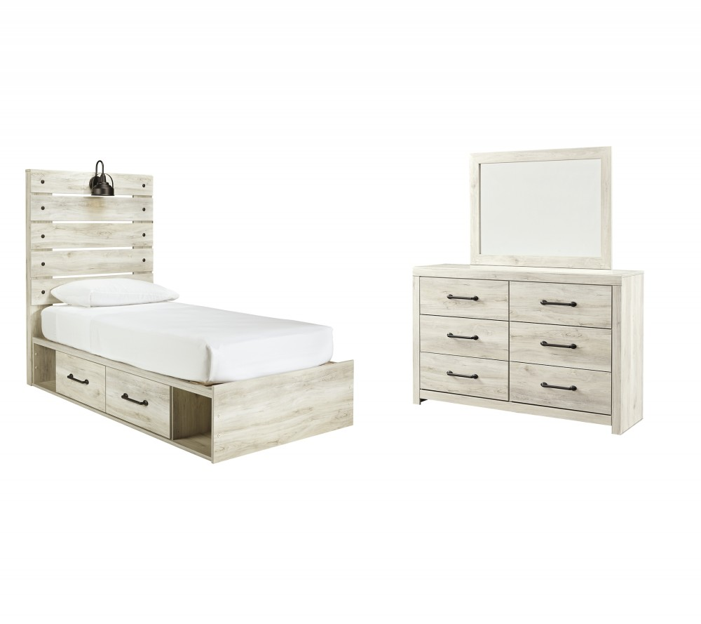 Cambeck - Twin Panel Bed with 2 Storage Drawers with Mirrored Dresser