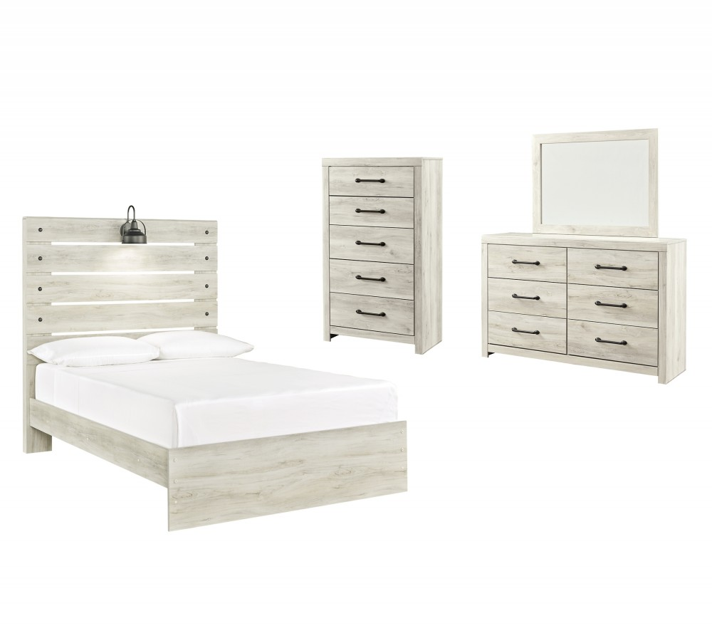 Cambeck - Full Panel Bed with Mirrored Dresser and Chest