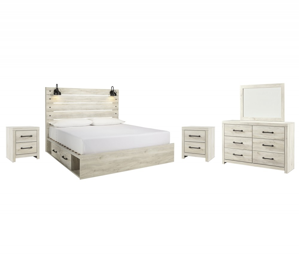 Cambeck - King Panel Bed with 4 Storage Drawers with Mirrored Dresser and 2 Nightstands