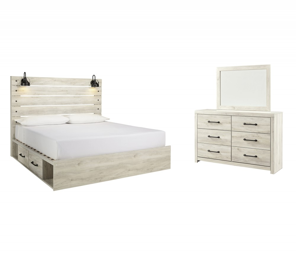 Cambeck - King Panel Bed with 4 Storage Drawers with Mirrored Dresser