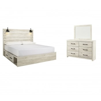 Cambeck - King Panel Bed with 2 Storage Drawers with Mirrored Dresser