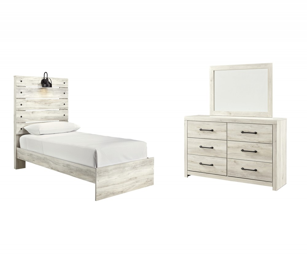 Cambeck - Twin Panel Bed with Mirrored Dresser