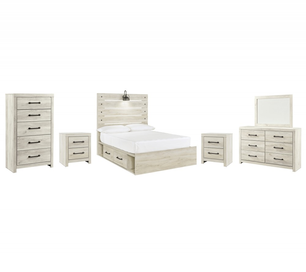 Cambeck - Full Panel Bed with 4 Storage Drawers with Mirrored Dresser, Chest and 2 Nightstands