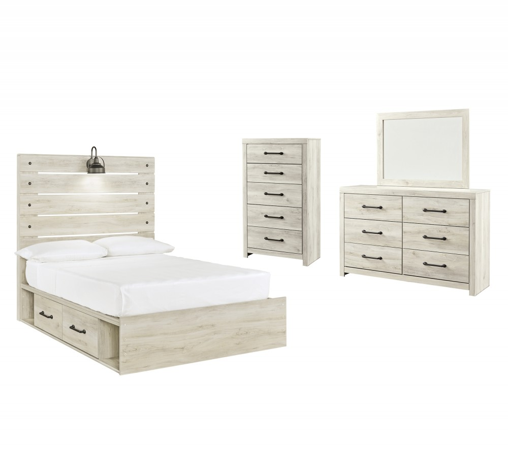 Cambeck - Full Panel Bed with 4 Storage Drawers with Mirrored Dresser and Chest