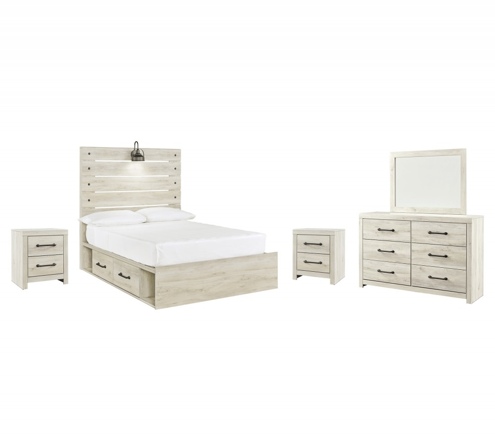 Cambeck - Full Panel Bed with 4 Storage Drawers with Mirrored Dresser and 2 Nightstands