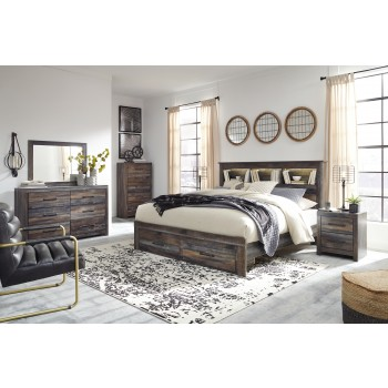 Drystan - Queen Bookcase Bed with 2 Storage Drawers with Mirrored Dresser and 2 Nightstands