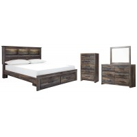 Drystan - King Bookcase Bed with 2 Storage Drawers with Mirrored Dresser and Chest