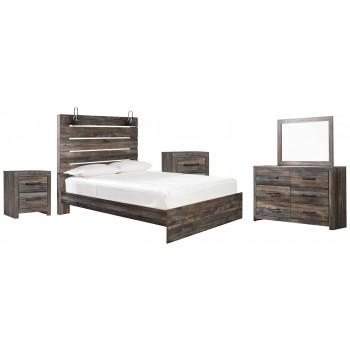 Drystan - Queen Panel Bed with Mirrored Dresser and 2 Nightstands