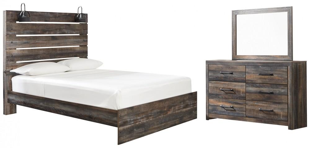 Drystan - Queen Panel Bed with Mirrored Dresser