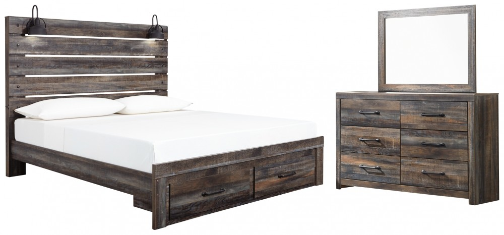 Drystan - King Panel Bed with Storage with Mirrored Dresser