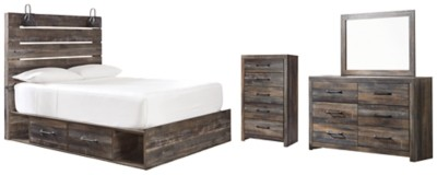 Drystan - Twin Panel Bed with 2 Storage Drawers with Mirrored Dresser and Chest