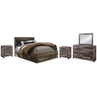 Derekson - Queen Panel Bed with 6 Storage Drawers with Mirrored Dresser and 2 Nightstands