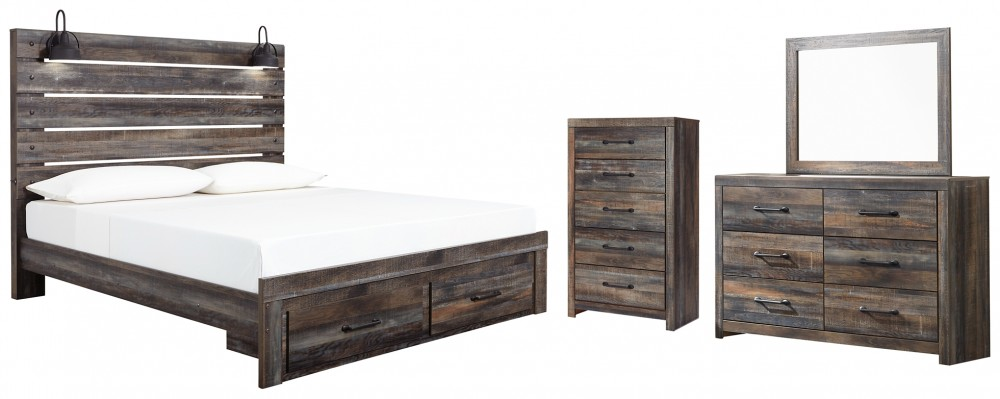 Drystan - King Panel Bed with Storage with Mirrored Dresser and Chest